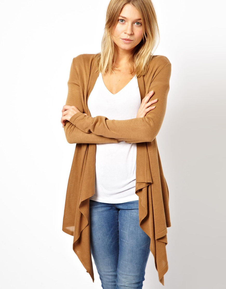 Asos Waterfall Cardigan in Brown | Lyst