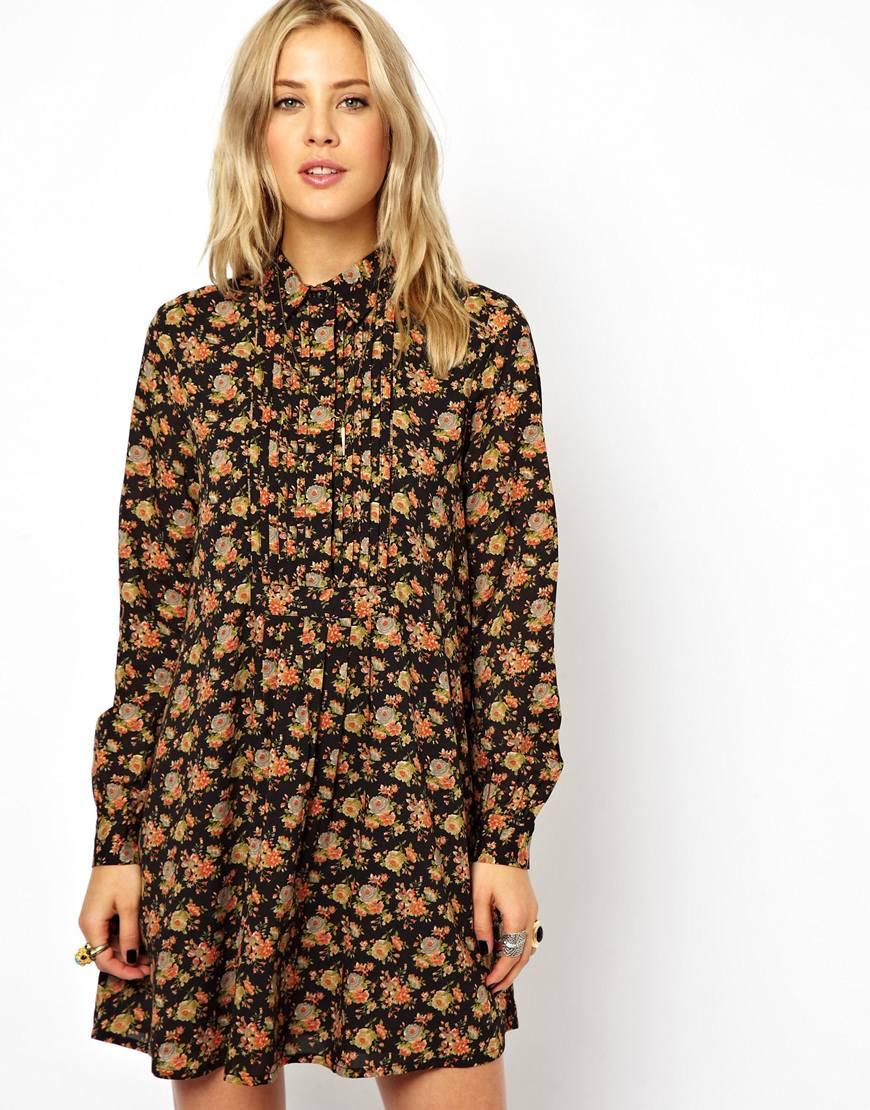 Lyst - ASOS Shirt Dress In Floral Print in Black