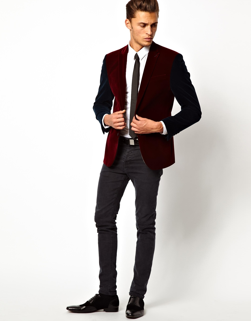 Insight Asos Slim Fit Blazer in Cut and Sew Velvet in Red for Men ...