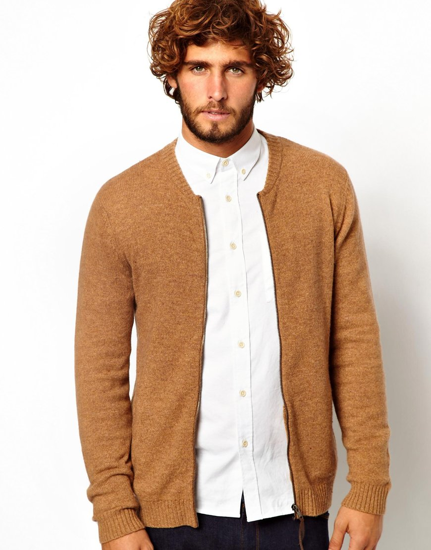 Asos Lambwool Rich Baseball Cardigan in Brown for Men | Lyst