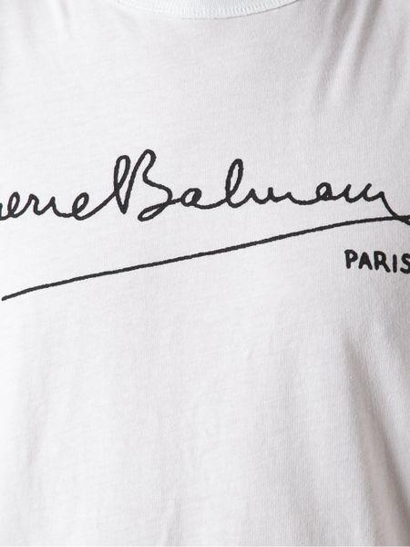 Balmain Logo Tshirt In White For Men Lyst