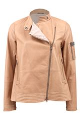 Brunello Cucinelli Zip Front Trapeze Leather Jacket - Lyst