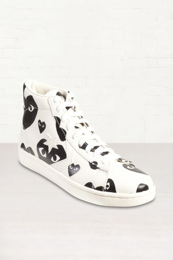 Comme Des Garçons Heart Print Pro Leather High Top Sneakers - Lyst