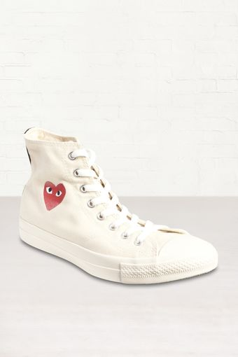 Comme Des Garçons White Heart All Star High Tops - Lyst