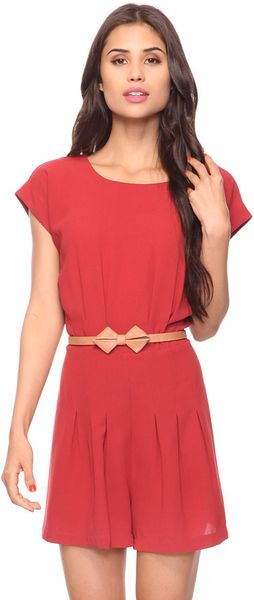 Forever 21 Waistline Pleats Romper W Belt in Red (BRICK)