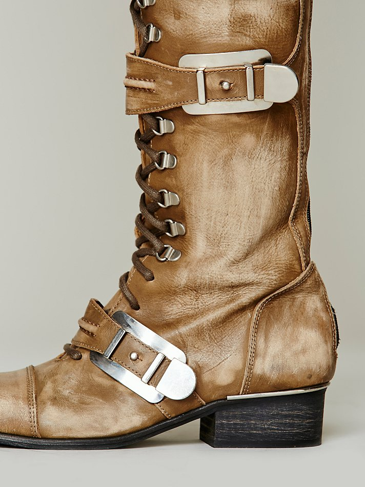 Free People Womens Kantell Lace Up Boot In Brown Khaki