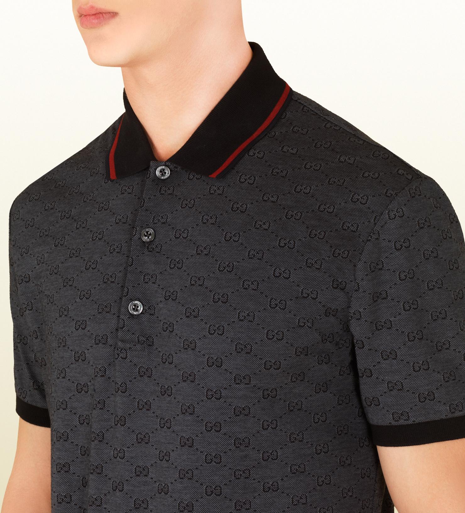 3376d65a919 Gucci Dark Grey Pique Gg Jacquard Short Sleeve Polo in Gray for Men ...