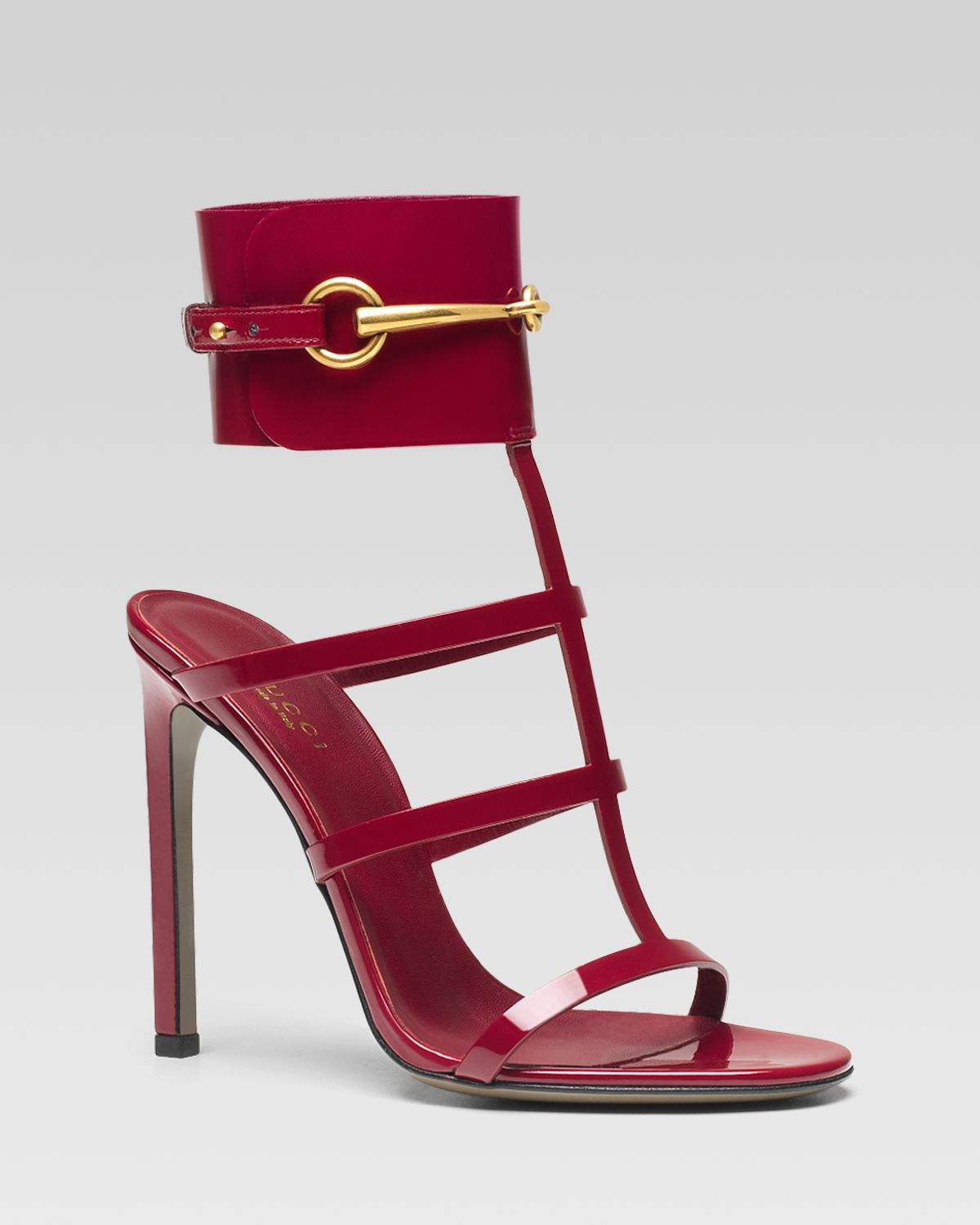 shoeniverse gucci ursula cage high heel sandal in red or black. Black Bedroom Furniture Sets. Home Design Ideas