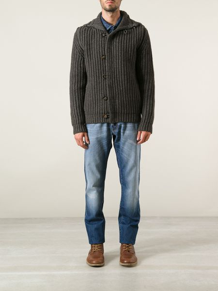Jacob Cohen Chunky Knit Cardigan In Gray For Men Grey Lyst