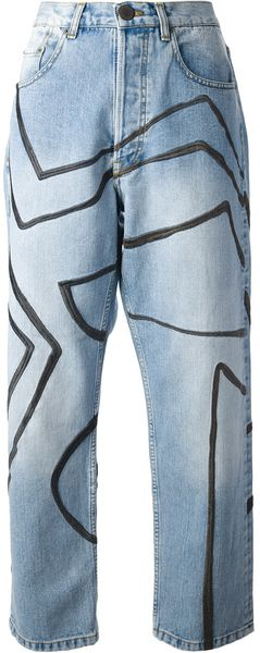 James Long Strip Embroidered Boyfriend Jean - Lyst