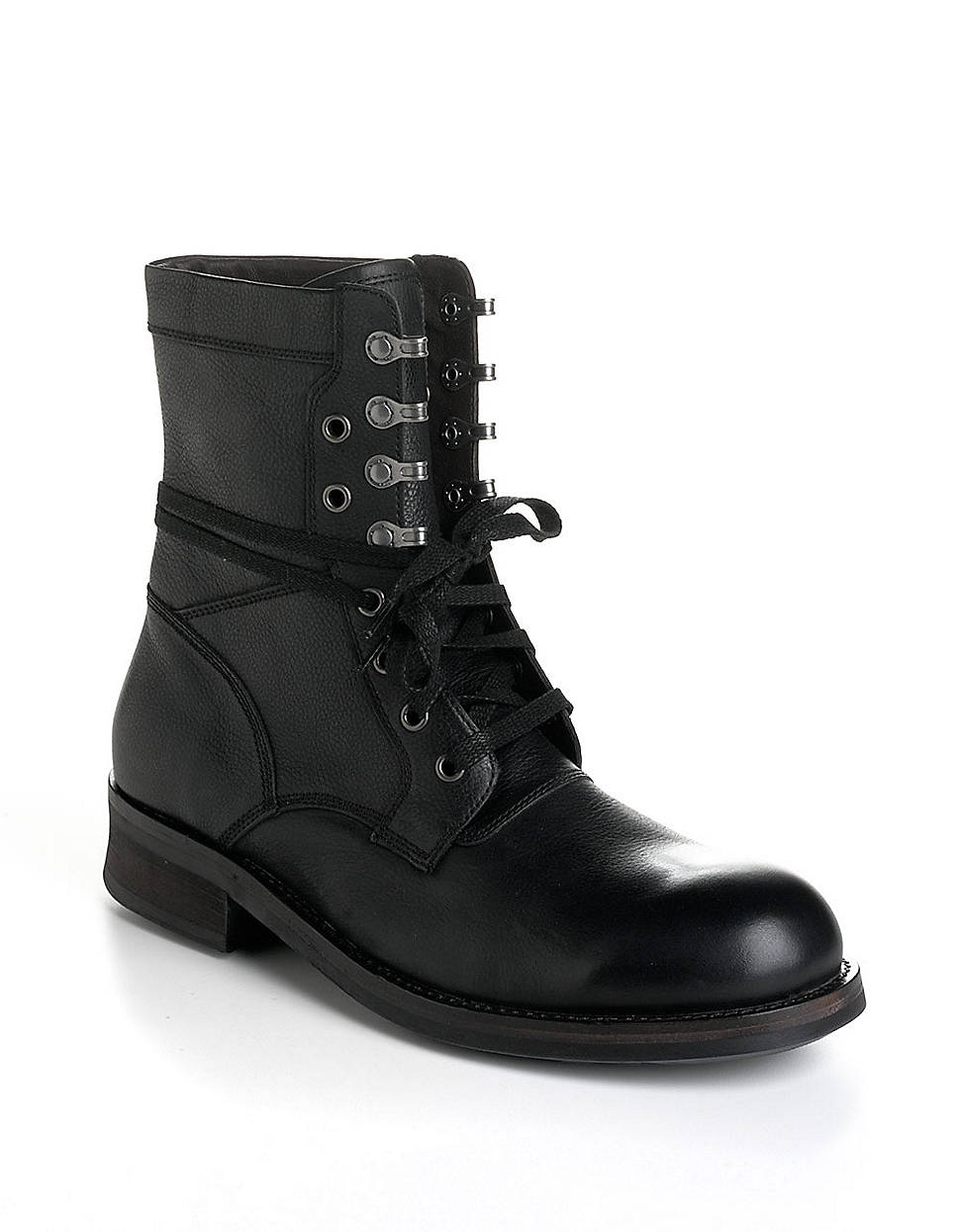 varvatos leather moto combat boots in black for