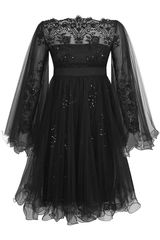 Marchesa Tulle Overlay Dress - Lyst