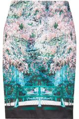 Mary Katrantzou Palma Printed Satin Pencil Skirt - Lyst