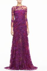 Monique Lhuillier Silk Gown with Embroidered Tulle - Lyst