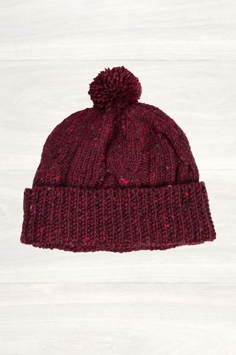 Mr Start Burgundy Ribbed Knit Beanie - Lyst