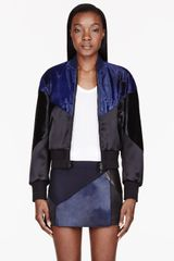 Neil Barrett Black And Blue Calf_hair Mixed Modernist Bomber - Lyst