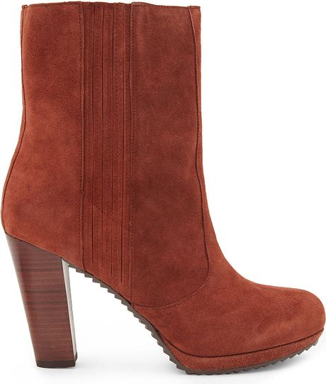 nine west perusha suede ankle boots in brown lyst