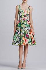 Oscar de la Renta Floral Plaid Aline Dress Green multicolor - Lyst