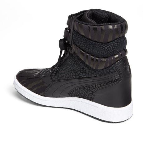 Puma Sky Wedge Reptile Sneaker In Black Lyst