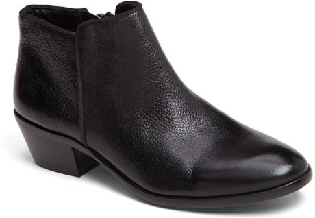 sam edelman petty bootie in black black leather lyst