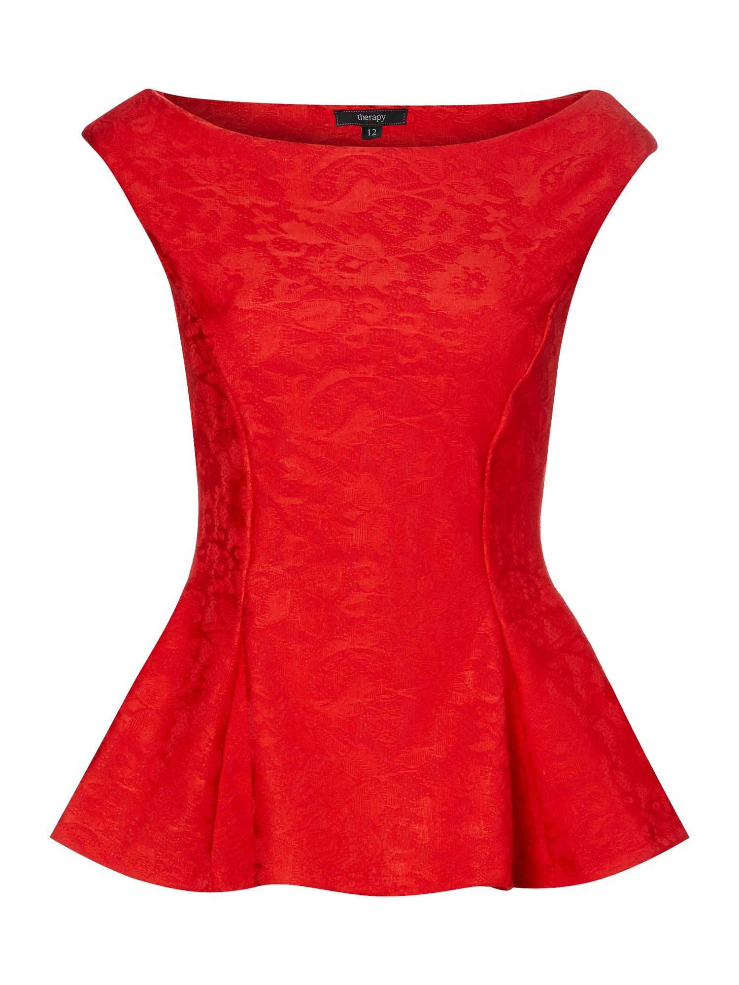 Therapy Bonded Lace Peplum Top in Red | Lyst