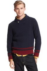 Tommy Hilfiger Colorblock Stripe Shawl Collar Sweater - Lyst
