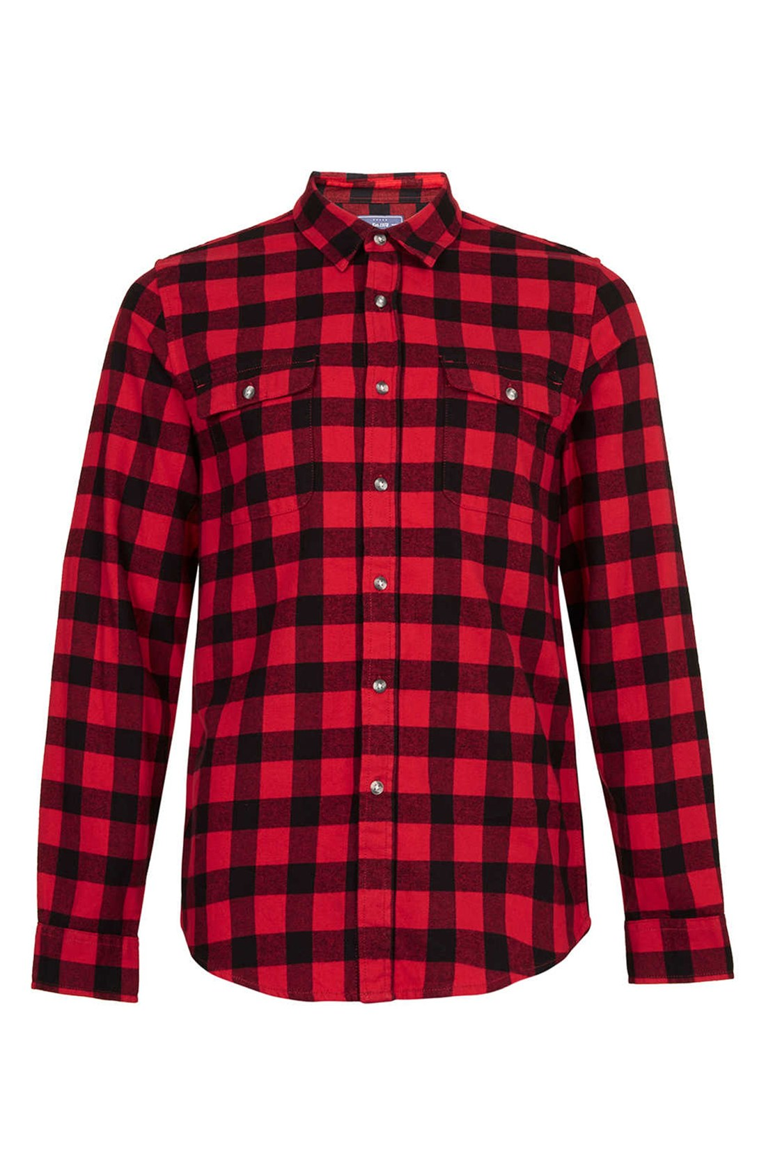 Topman Buffalo Check Flannel Shirt In Red For Men Black