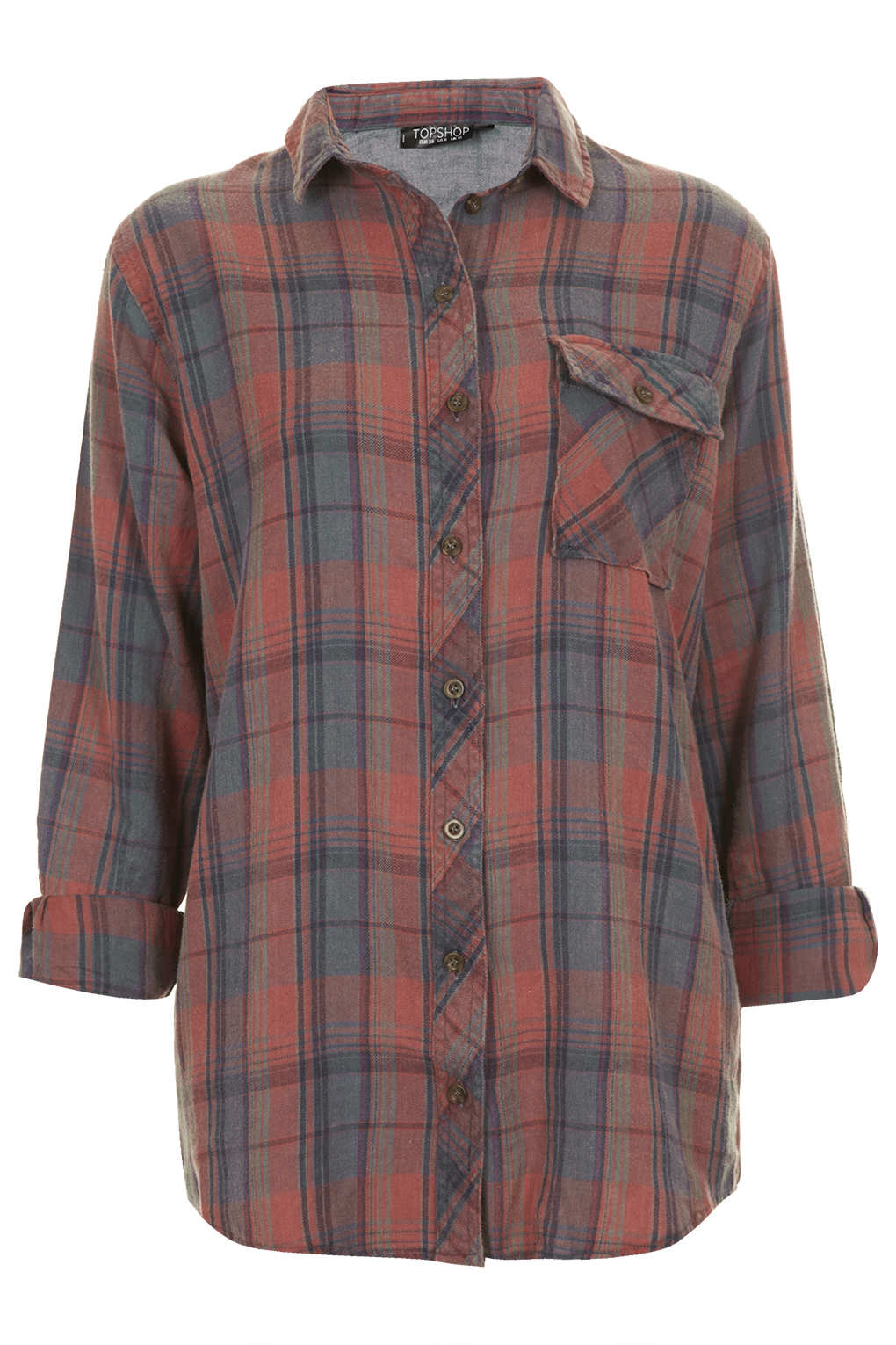 Topshop oversized check shirt in multicolor multi lyst for Womens denim shirts topshop