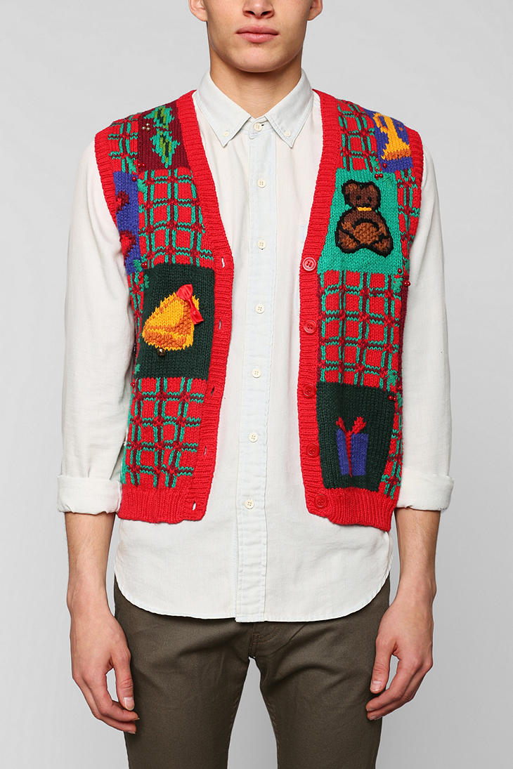 Urban Outfitters Ugly Christmas Sweater.Urban Outfitters Red Urban Renewal Vintage Ugly Christmas Sweater Vest For Men