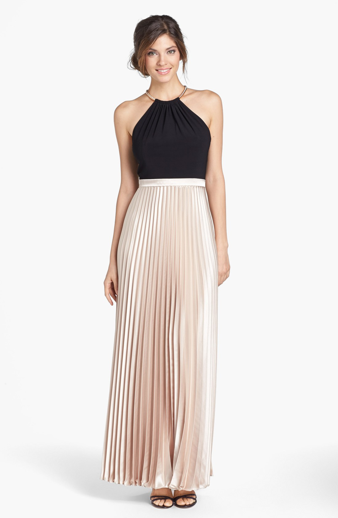 Xscape Pleated Mixed Media Gown in Beige (Black/ Taupe)   Lyst