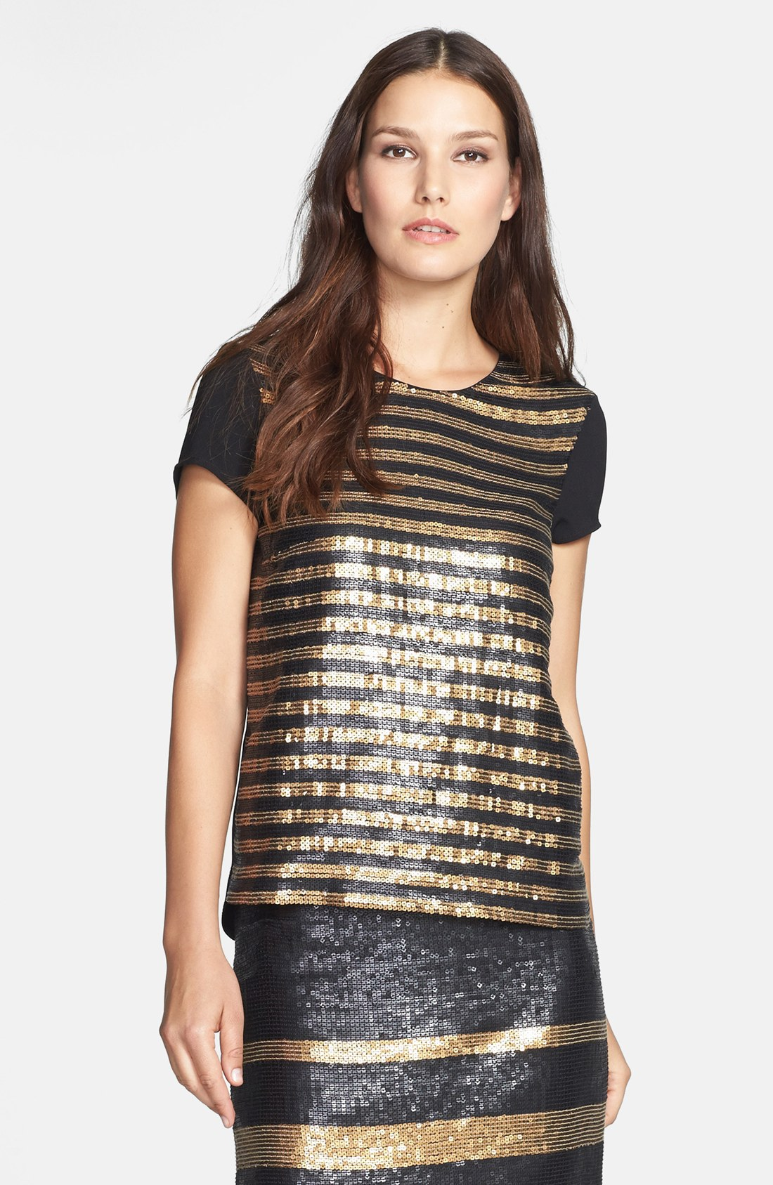 Adrianna Papell Stripe Sequin Tee In Gold Black Antique