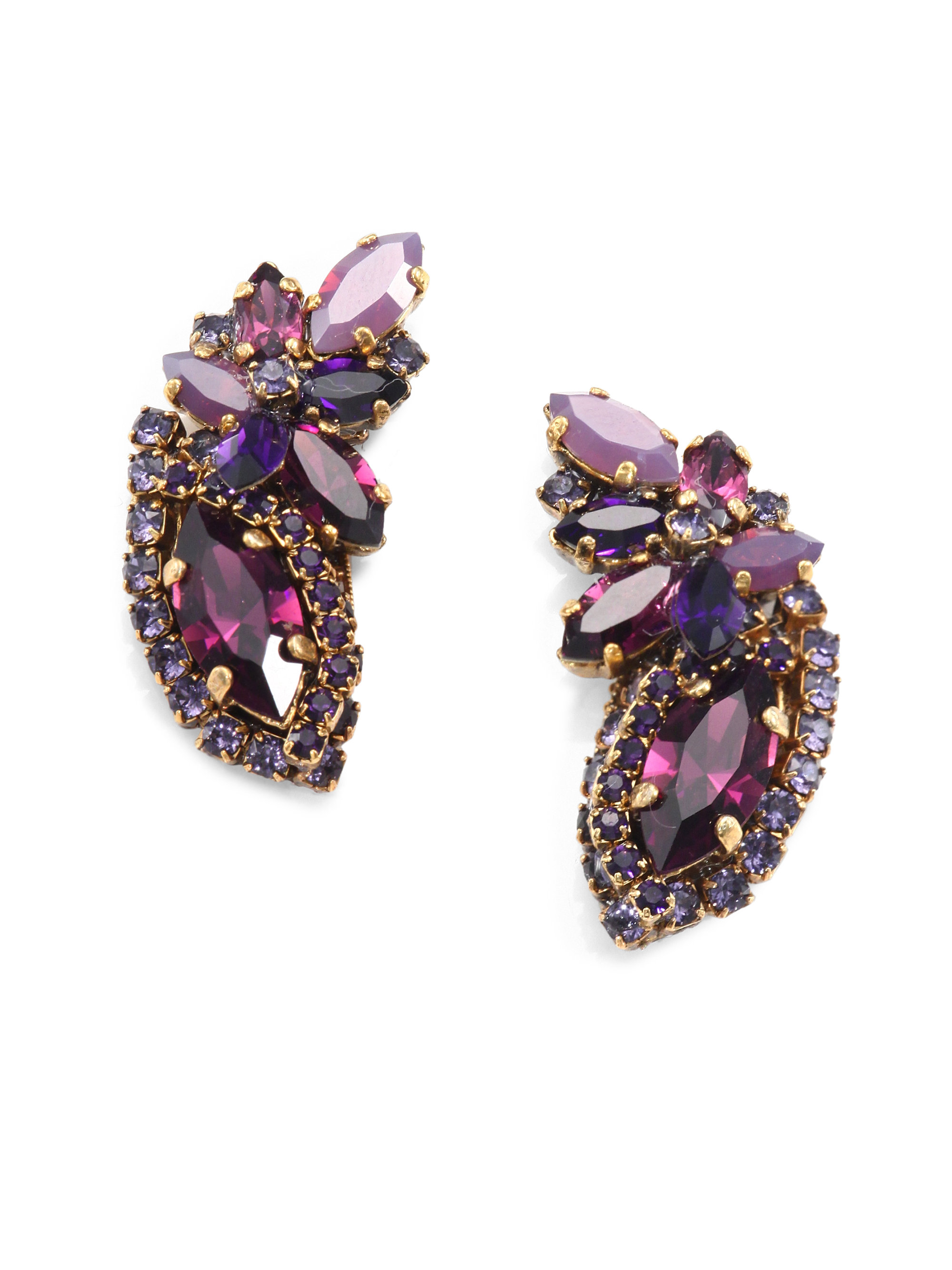 diamond mcqueen jewelry alexander grey lyst in product jeweled metallic normal floral gray gallery jewelled earrings