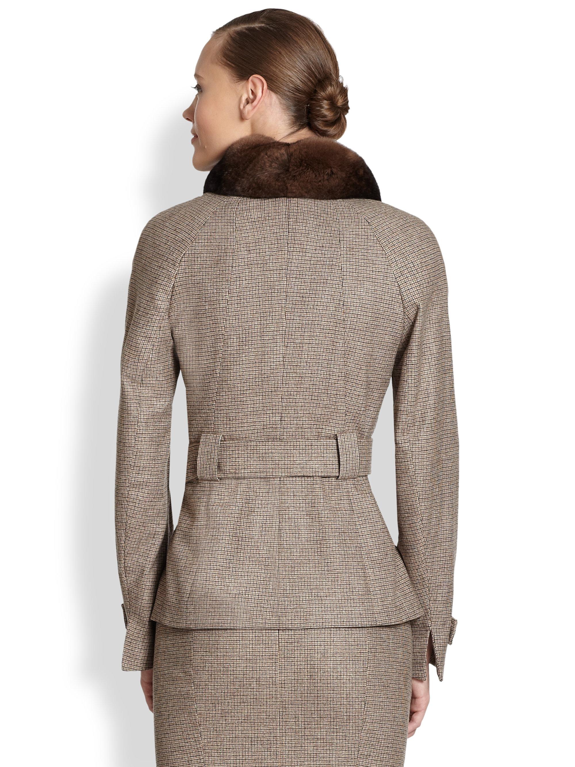 akris hannover belted plaid jacket in natural lyst. Black Bedroom Furniture Sets. Home Design Ideas