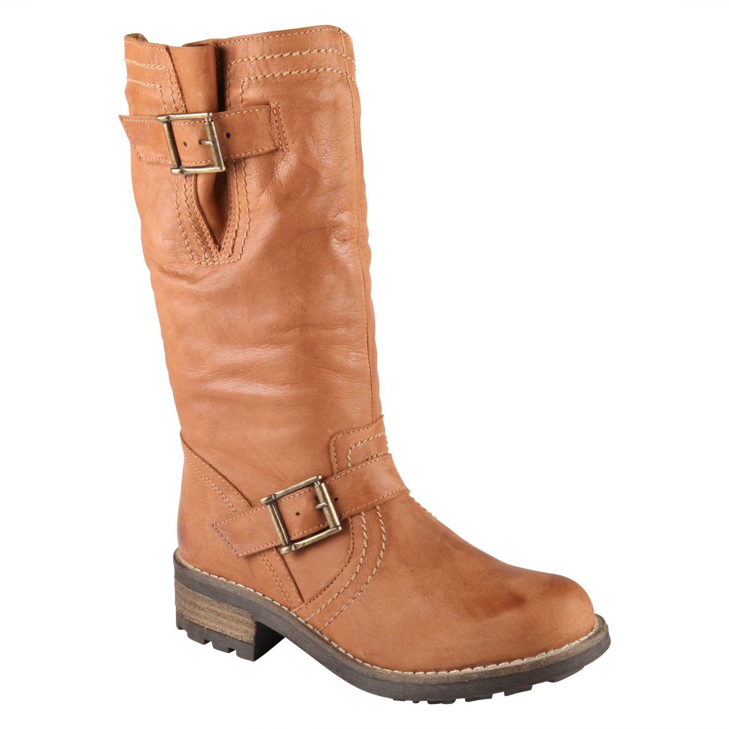 aldo billingsa metal detail calf boots in brown cognac