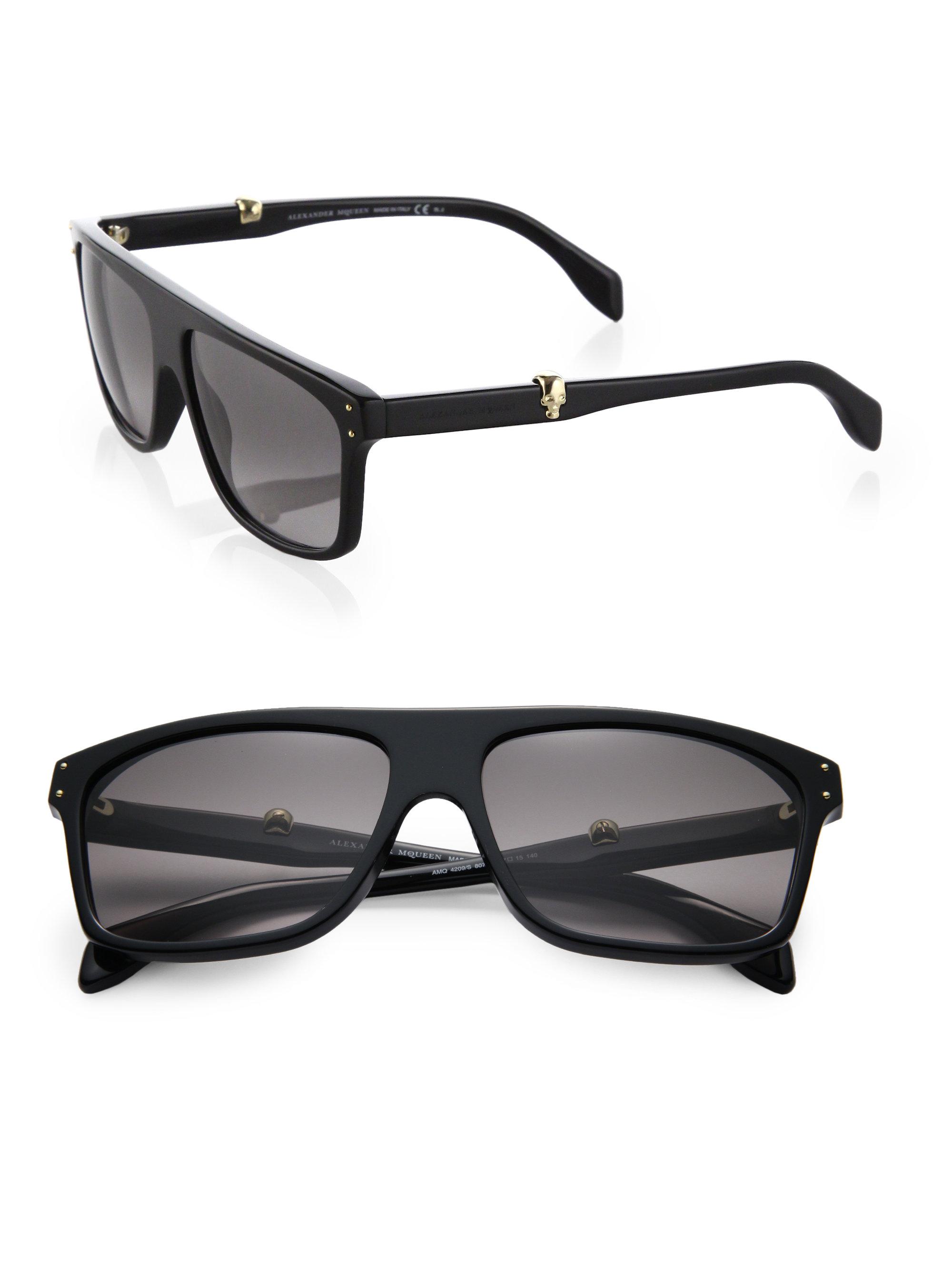 1ed1aa322f Lyst - Alexander McQueen Skull Wayfarer Acetate Sunglasses in Black ...