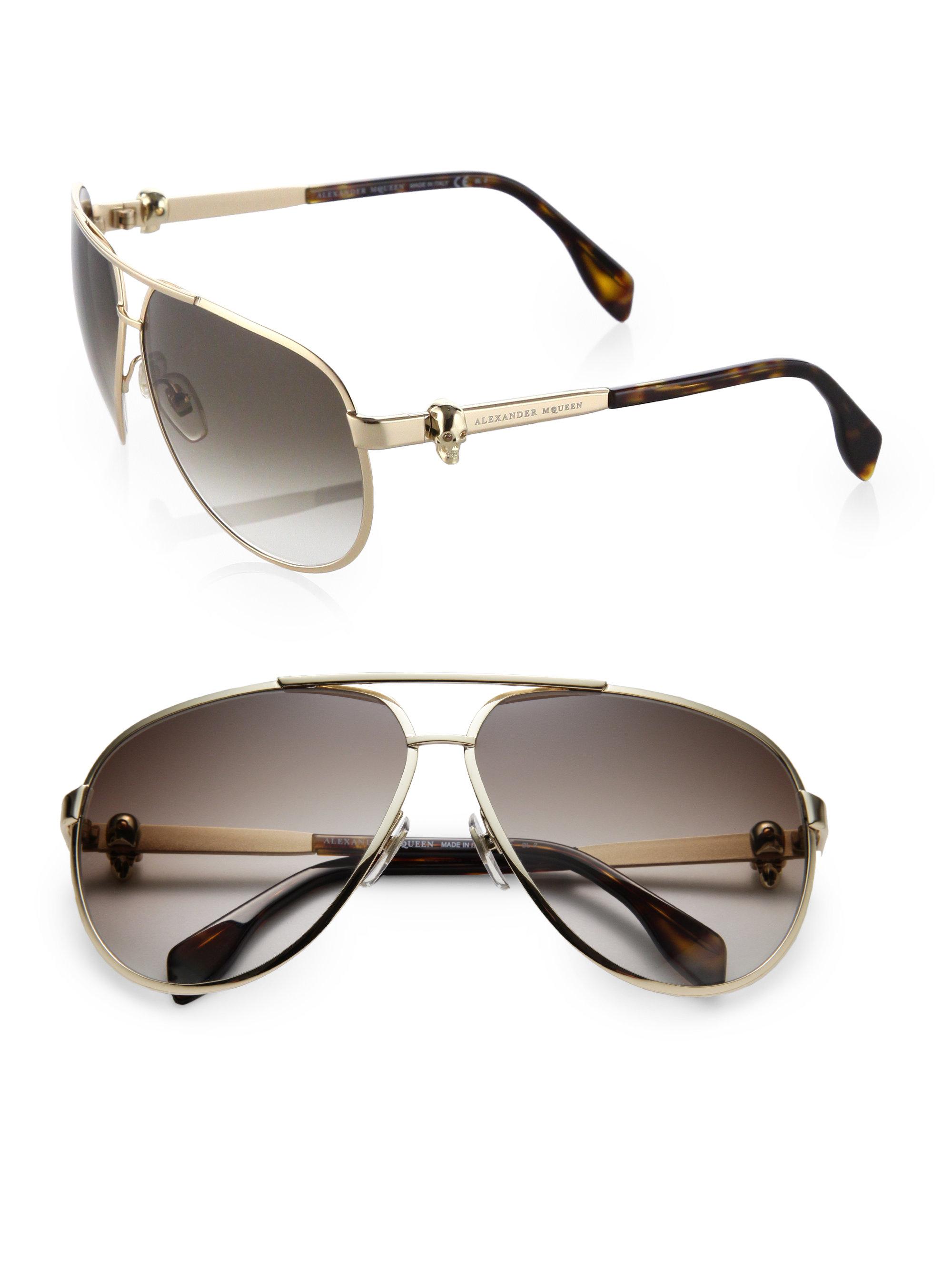 21651ea8be4 Lyst - Alexander McQueen Metal Skull Aviator Sunglasses in Metallic ...