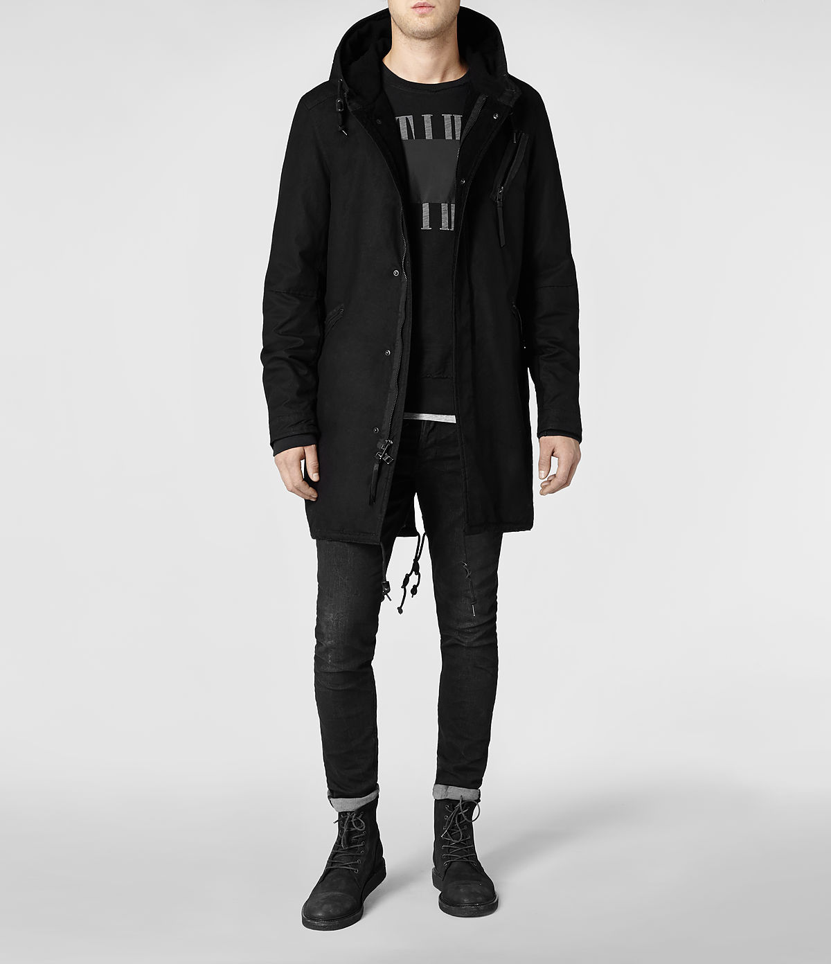Allsaints Kray Parka Jacket in Black for Men | Lyst