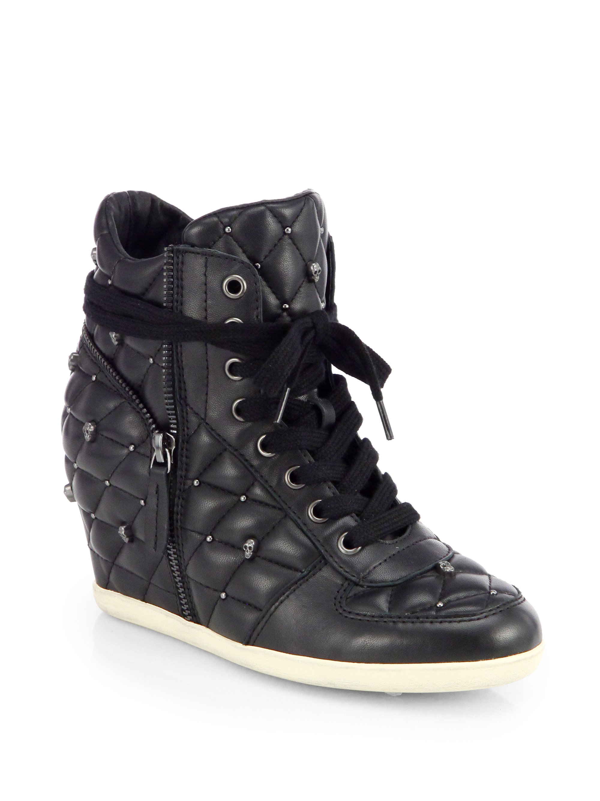 Lyst Ash Brooklyn Studded Leather Wedge Sneakers In Black