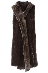 Avant Toi Distressed Cable Knit Cardigan - Lyst