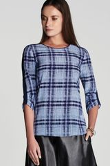 BCBGMAXAZRIA Top Daria Plaid Silk - Lyst