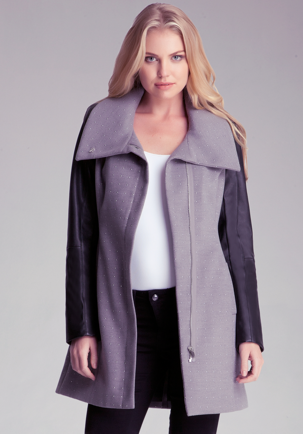 Bebe Molly Studded Wool Coat In Gray Lyst
