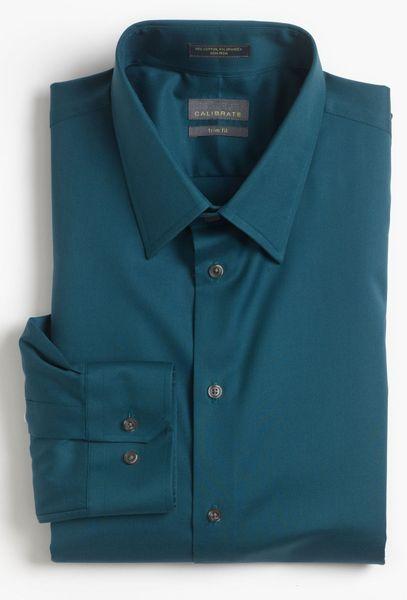 Calibrate Trim Fit Noniron Dress Shirt In Blue For Men
