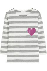 Chinti And Parker Heartprint Striped Organic Cottonjersey Top - Lyst