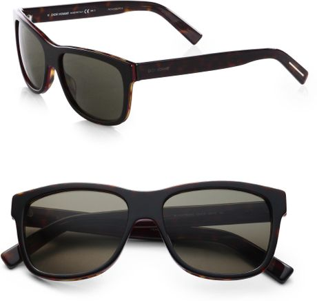 142edbe333342 Dior Homme Acetate Wayfarer Sunglasses in Black for Men (BROWN)