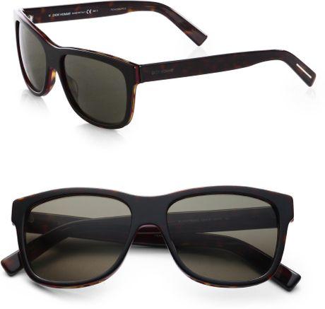 142edbe333342 Dior Homme Acetate Wayfarer Sunglasses in Black for Men (BROWN)