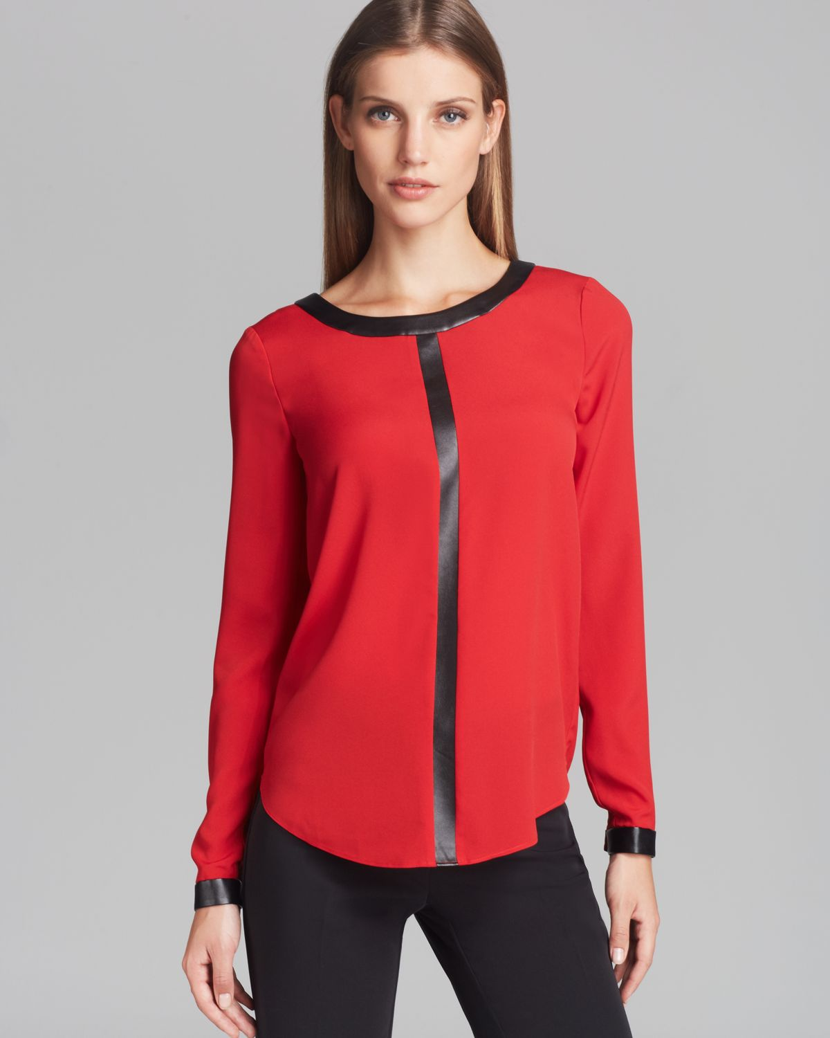 Lyst dkny blouse with faux leather trim in red for Red leather shirt for womens