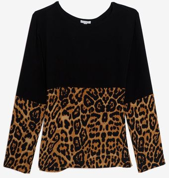 Exclusive For Intermix Leopard Combo Silk Pullover - Lyst