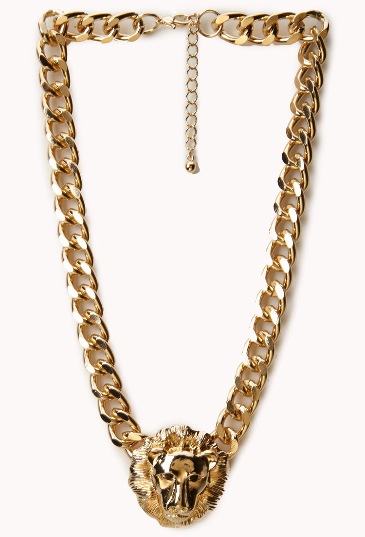 Lyst Forever 21 Curb Chain Lion Necklace In Metallic