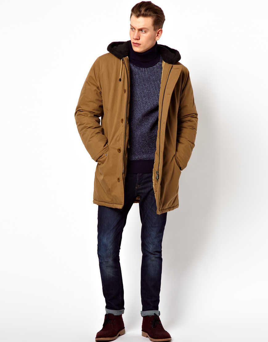 g star raw fred perry quilted parka in natural for men lyst. Black Bedroom Furniture Sets. Home Design Ideas