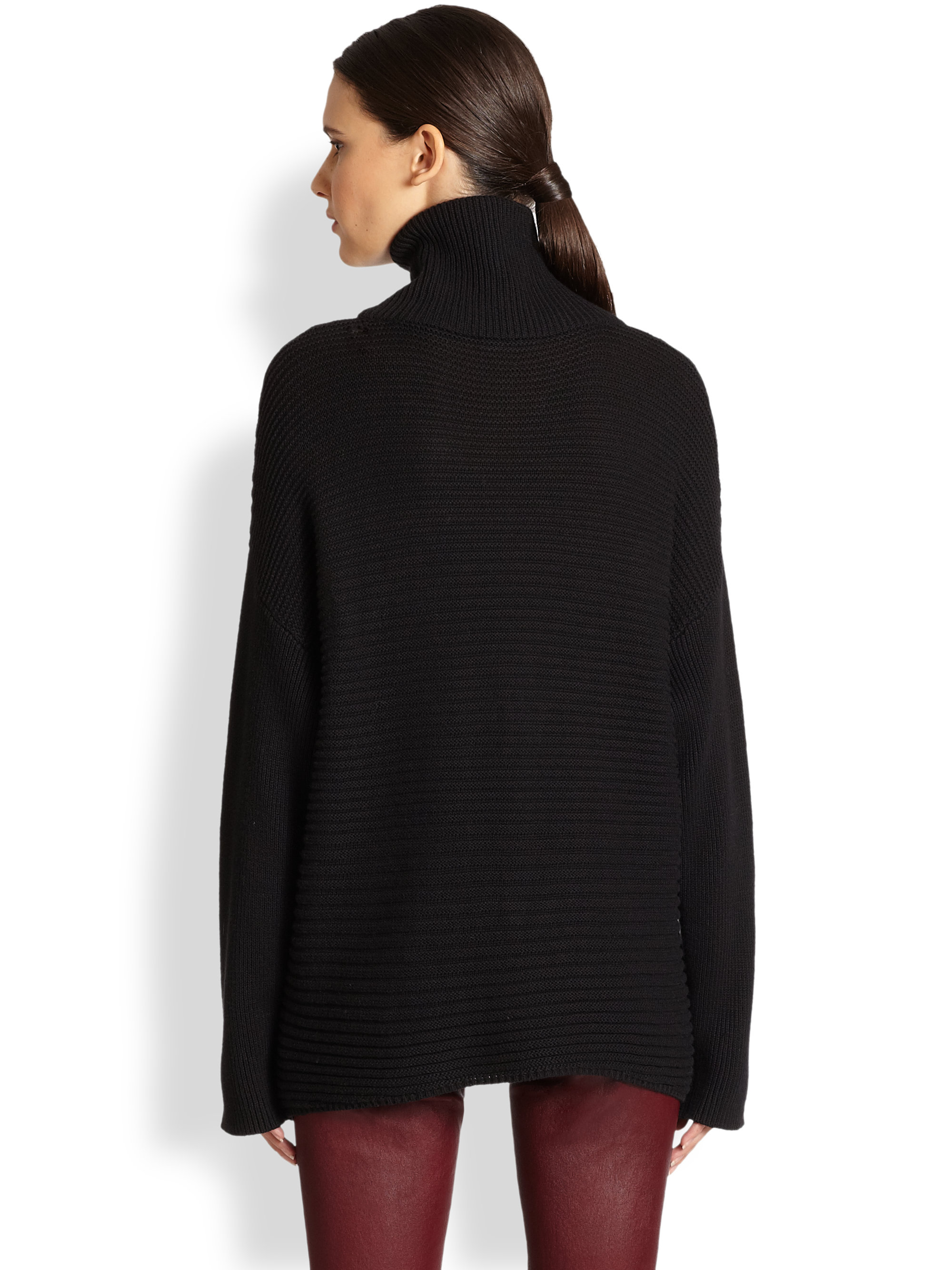Helmut lang Ribbed Cotton Cashmere Dolmansleeved Turtleneck ...